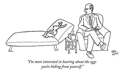Easter Bunny Drawing - I'm More Interested In Hearing About The Eggs by Paul Noth