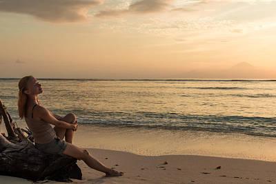 Caravaggio - Woman watching sunset by Nikita Buida
