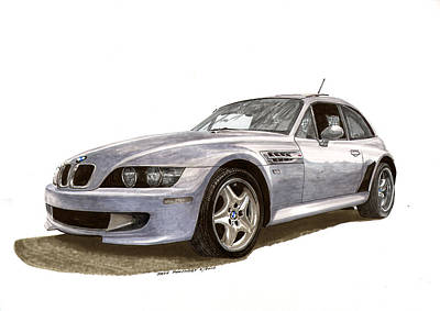 Painting -  B M W M Coupe 2001 by Jack Pumphrey