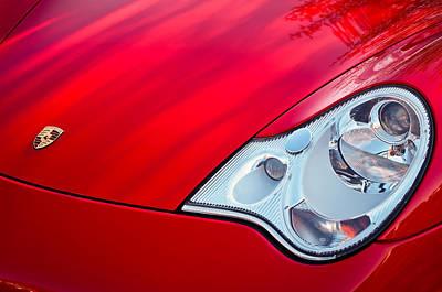 Porsche 911 Photograph - 2002 Porsche 911 Cabriolet Hood Emblem -0352c by Jill Reger