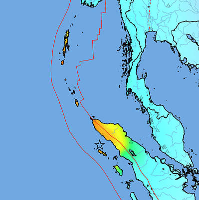 2004 Tsunami Earthquake Intensity Map Art Print
