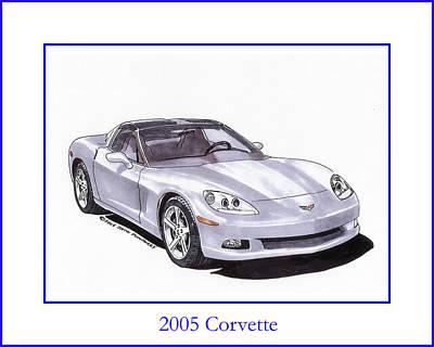 Corvette Drawing - 2005 Corvette by Jack Pumphrey