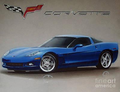 Corvette Drawing - 2005 Corvette by Paul Kuras