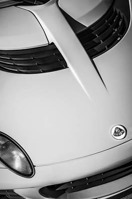 Photograph - 2005 Lotus Elise Hood Emblem -0125bw by Jill Reger