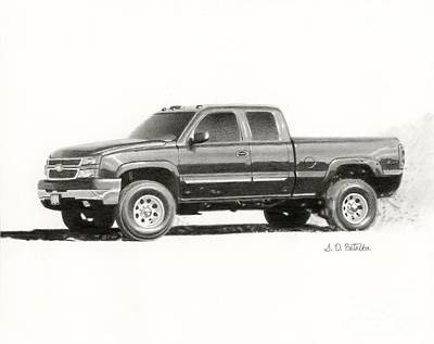 Greetings Card Drawing - 2006 Chevy Silverado 2500 Hd by Sarah Batalka