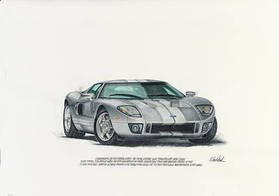 Super Cars Drawing - 2006 Ford Gt by Ken Hank