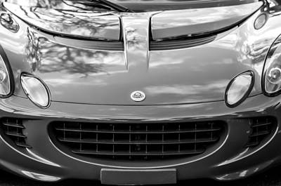 Photograph - 2006 Lotus Hood Emblem -0575bw by Jill Reger