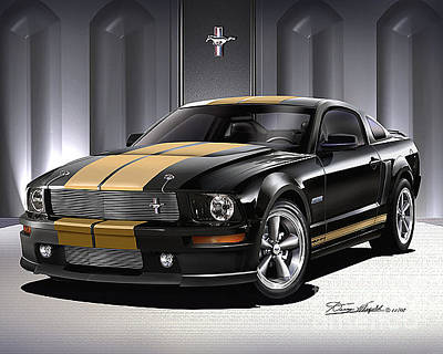 Muscle Cars Drawing - 2006 Ford Mustang Shelby Hertz by Danny Whitfield
