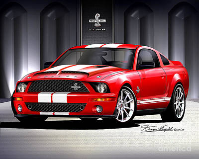 Car Art Drawing - 2007 2008 Ford Musatng Shelby Gt500 Kr by Danny Whitfield