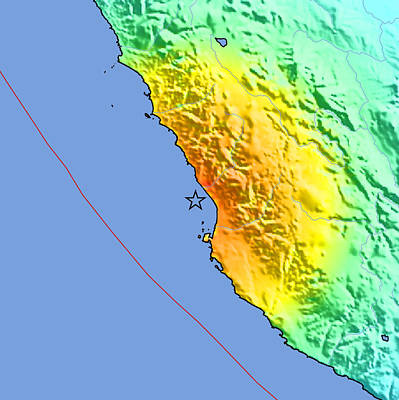 Peru Photograph - 2007 Peru Earthquake Intensity Map by Us Geological Survey/science Photo Library