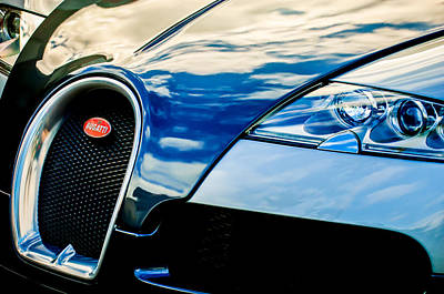 2008 Photograph - 2008 Bugatti Veyron Grille Emblem -0621c by Jill Reger