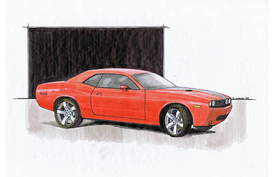 Challenger Drawing - 2008 Dodge Challenger Concept by Chris Istenes