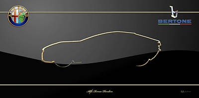 Digital Art - 2010 Alfa Romeo Bertone Pandion Concept  Silhouette With 3d Badges  - Black And Gold Series by Serge Averbukh