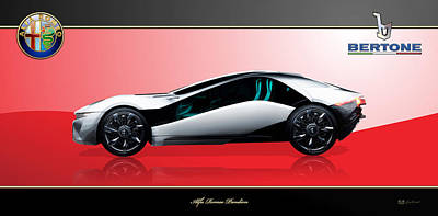 Digital Art - 2010 Alfa Romeo Bertone Pandion Concept  With 3d Badges  by Serge Averbukh