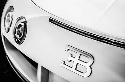 2010 Photograph - 2010 Bugatti Veyron Grand Sport Taillight Emblem -0479bw by Jill Reger