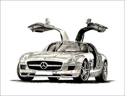 Drawing - Mercedes Benz S L S by Jack Pumphrey