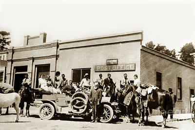 Photograph - Cambria Post Office San Luis Obispo County Cal. Calif Circa 1910 by California Views Archives Mr Pat Hathaway Archives
