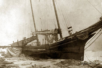 Photograph - Two-masted Schooner Shipwrecked On The Beach Near  Cambria  by California Views Mr Pat Hathaway Archives