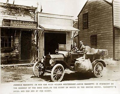 Photograph - Johnnie Maggetti In His Car Louis Maggetti In The  Doorway San Luis Obispo County Circa 1915 by California Views Archives Mr Pat Hathaway Archives