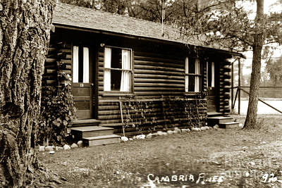 Photograph - 2011-007-0020  Log Cabin At Cambria Pines Lodge Was Built In 192 by California Views Archives Mr Pat Hathaway Archives