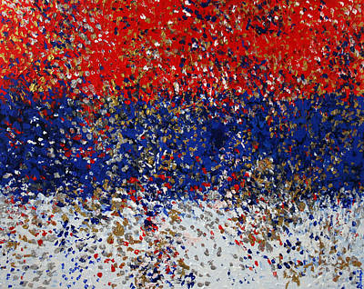 Serbian Painting - 2011 175 Serbian Flag by Alyse Radenovic