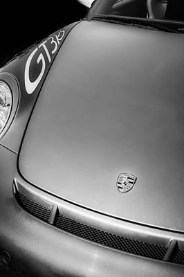 Photograph - 2011 Porsche Gt 3 Rs Hood Emblem -0710bw by Jill Reger