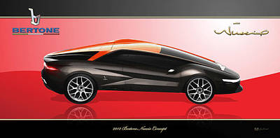 Digital Art - 2012 Bertone Nuccio Concept With 3d Badge  by Serge Averbukh