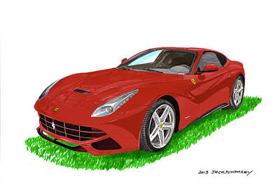 Painting -  F12 Ferrari Berlinetta Gt by Jack Pumphrey