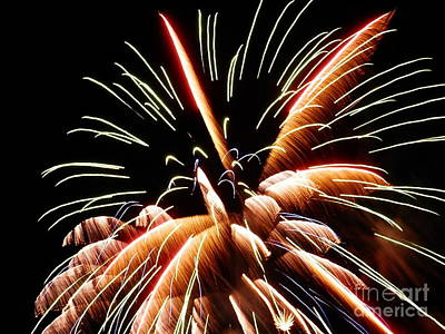 Art Print featuring the digital art 2012 Fireworks By Aclay by Angelia Hodges Clay