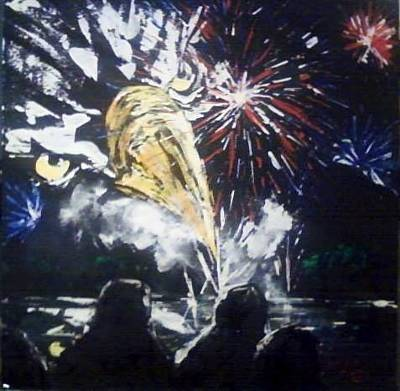 Painting - 2012 Harrisonville Fireworks by Patricia Olson