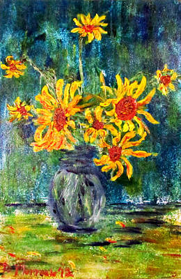 2012 Sunflowers 4 Art Print by Denny Morreale