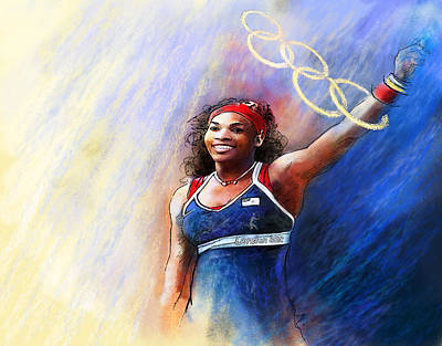 Sports Paintings - 2012 Tennis Olympics Gold Medal Serena Williams by Miki De Goodaboom