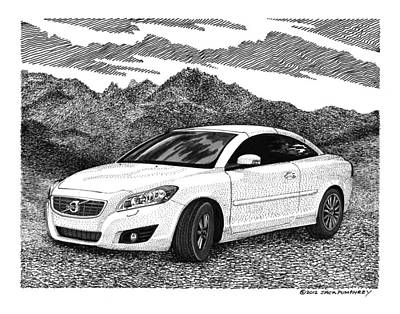 Mountain Drawings - 2012 Volvo C 70 Front by Jack Pumphrey