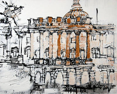 Capitol Building Painting - 2013 002 U S Capitol Building White And Gold by Alyse Radenovic