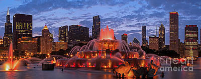 Buckingham Fountain Wall Art - Photograph - 2013 Chicago Blackhawks Skyline by Jeff Lewis