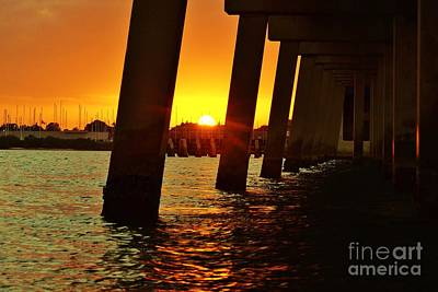 Photograph - 2013 First Sunset Under North Bridge 2 by Lynda Dawson-Youngclaus