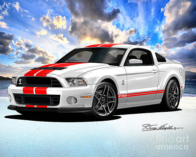 Super Cars Drawing - 2013 Ford Mustang Shelby Super Snake by Danny Whitfield