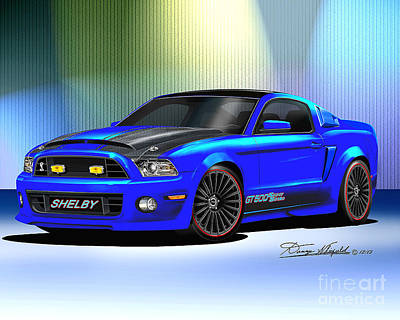 Super Cars Drawing - 2013 Mustang Shelby Razorback by Danny Whitfield