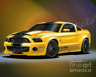 Super Cars Drawing - 2013 Mustang Shelby Super Snake Diamondback  by Danny Whitfield