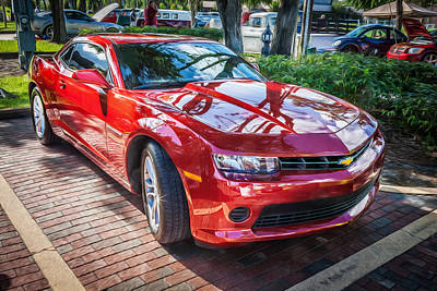 Red Camaro Photograph - 2014 Chevrolet Camaro Painted  by Rich Franco