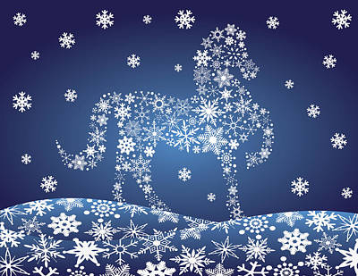 2014 Chinese Horse With Snowflakes Night Winter Scene Art Print