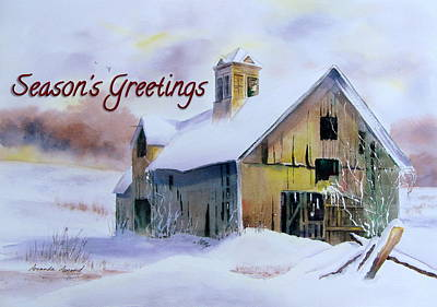 Barns In Snow Painting - 2014 Christmas Card by Amanda Amend