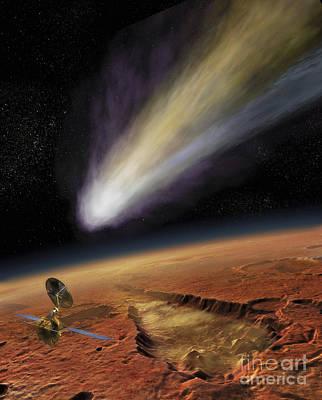 Digital Art - 2014 Comet Over Aromatum, Mars by Steven Hobbs