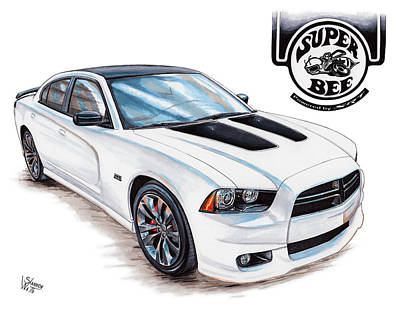 2014 Dodge Charger Super Bee Art Print by Shannon Watts