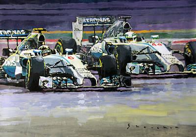 Racing Painting - 2014 F1 Mercedes Amg Petronas  Lewis Hamilton Vs Nico Rosberg by Yuriy Shevchuk