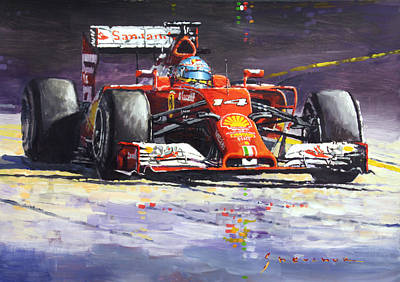 2014 Painting - 2014 Ferrari F14t Fernando Alonso  by Yuriy Shevchuk