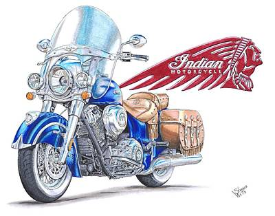 Bike Drawing - 2014 Indian Chief Vintage by Shannon Watts