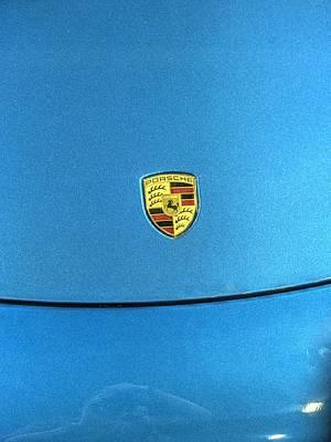 Huahin Photograph - 2014 Porsche Cayman S  Logo Blue by John Straton