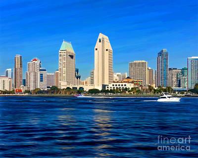 Mixed Media - 2014 San Diego Skyline by Glenn McNary