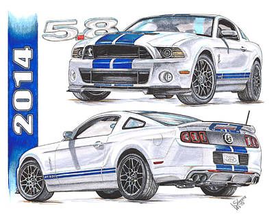 Cobra Drawing - 2014 Shelby Gt 500 by Shannon Watts